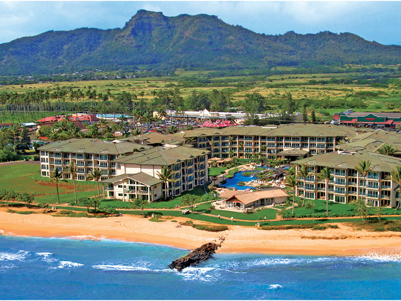 Aerial of Waipouli Beach Resort Kauai by Outrigger